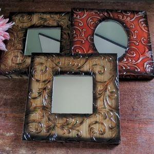 Set of 3 Metal Frame Mirrors